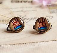 Rainbow Rabbit Clip Earrings