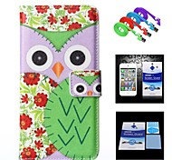 Flower Background Green Owl Case+1 HD Screen Protector+1 USB Data Transmit and Charging Cable for iPhone 6