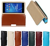 New Genuine Belt Clip Pouch Crazy Horse Leather Phone Case Cover for SONY Z2 (Assorted Colors)
