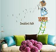 Blowing Dandelion Girl PVC Wall Sticker