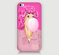 Pink Hair Girl Pattern Back Case for iPhone4/4S