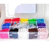 3600pcs 12 Colors DIY Rainbow Color Loom Style Silicone Band Elastic Woven Bracelets 3600pcs Bands ,2Looms ,2Hook+1Box