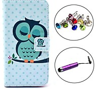 Sleeping Owl Pattern PU Leather Case with Stylus and Dust Plug for Samsung Galaxy S5 I9600