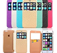 For iPhone 6 Case / iPhone 6 Plus Case Card Holder / with Windows / Flip / Embossed Case Full Body Case Solid Color Hard PCiPhone 6s