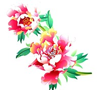 1PC Yimei Tattoo Stickers Large Size/Waterproof Flower Series Women/Girl/Men/Adult/Boy/Teen Red  Flower Pattern 26*20cm