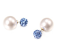 Fashion Rhinestone Ball Pearl Multicolor Acrylic Stud Earrings(1 Pair)(More Color)