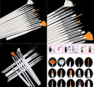 15PCS White Nail Art Design Painting Drawing Pen Brush Set Wood Handle Acrylic Brush