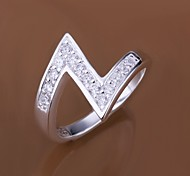925 Silver Diamond Z Shape Statement Rings(1PC)