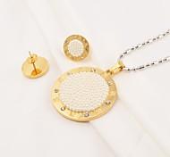 perlas de la moda de acrílico ronda con incrustaciones de acero inoxidable (collar&pendientes) de la joyería de