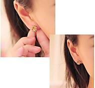 Diamond Rose Flower Stud Earrings