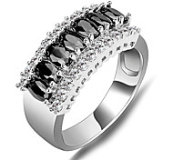 Size 6/7/8/9/10 High Quality Women Black  Rings 10KT White Gold Filled Ring