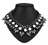 New Vintage Black Big Crystal Flower Teardrop Pendant Statement Necklace
