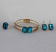 Fashion Blue Rings Earrings Bracelet Jewelry Set For Women