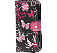Black Butterflies PU Leather Case Cover with Stand and Card Slot for Samsung Galaxy Xcover 2 S7710