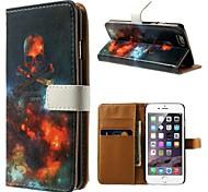 o fogo do inferno padrão de couro pu caso de corpo inteiro com stand titular e um cartão para o iphone 6