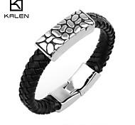 Kalen Men's Jewelry  Handmade Magnetic Mens Leather Bracelet
