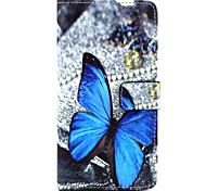 blu modello di farfalla pu borsa di cuoio caso la funzione del basamento fondina per lg g4