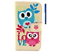 Owl Pattern PU Wallet Leather Case with Stand and Pen for Wiko Rainbow
