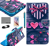 COCO FUN® Love Heart Pattern PU Leather Case with Film and USB Cable and Stylus for Samsung Galaxy S6
