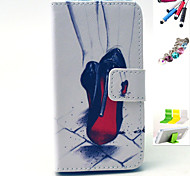 High-Heeled Shoes Pattern PU Material Holster And Stylus Pen Dust Plug Bracket Assembly for iPhone 4/4S