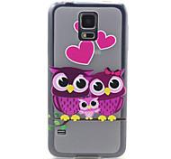 la familia del modelo del búho ultrafina TPU caso de la contraportada suave para i9600 Samsung Galaxy S5