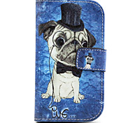 Dog  Pattern PU Leather Case with Magnetic Snap and Card Slot for Alcatel One Touch Pop C3