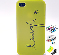 Letter Pattern with Stylus ,Anti-Dust Plug and Stand TPU Soft Case for iPhone 4/4S