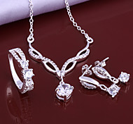 Silver Jewelry,Silver Fashion Jewelry White Crystal Necklace&Earrings&Ring Jewelry Sets For Women SS631