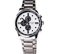 moda tres relojes de acero inoxidable dial circular movimiento cuarzo de la correa de los hombres de diseño de línea pequeña (colores