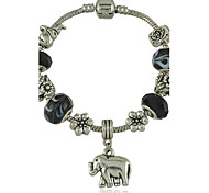 Women's New Black Murano Glass Bead Bracelet With Tibetan Silver Elephant Charm DIY Bracelet Jewelry