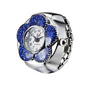 Creative Lovely Flower Fashion Lady Girl Steel Round Elastic Quartz Finger Ring watch women