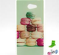 Macarons торт узор ТПУ мягкий чехол с Anti-Dust Разъем выступают за Sony Xperia м2 s50h