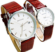 Couple's New Explosion Circular Thin Calendar Dial Strap Watch Business Fashion Quartz Watches  (Assorted Colors) Cool Watches Unique Watches