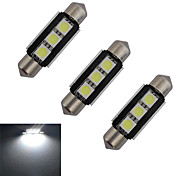 JIAWEN® 3pcs Festoon 39mm 1W 3x5050SMD 60-70LM 6000-6500K Cool White Light LED Car Light (DC 12V)