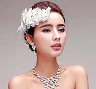 Rhinestones Titanium Jewelry Sets/Necklace with Earrings with Headpiece