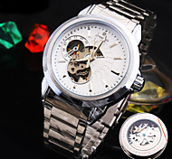 Men's New Explosion Round Glass Symphony Dial Stainless steel Strap Fashion Business Mechanical Watch  (Assorted Colors)