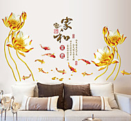 Chinese Style Family Flowers PVC Wall Stickers Wall Art Decals