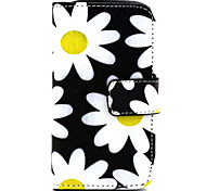 Chrysanthemum  Pattern PU Leather Case with Magnetic Snap and Card Slot for Samsung S3 Mini I8190N
