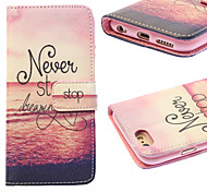 Setting Sun Painting PU Leather Falling Proof Case with Stand and Slot Card for iPhone 6/6S