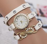 yoonheel Damen Modeuhr Armband-Uhr Quartz PU Band Schwarz Weiß Blau Orange Grün Schwarz Orange Grün Blau Hellblau
