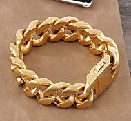 Муж. Жен. Браслеты-цепочки и звенья Классика Pоскошные ювелирные изделия Золотистый Титановая сталь Позолота Бижутерия Бижутерия