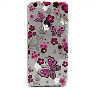 Pink Flowers Butterfly Pattern TPU Diamond Relief Back Cover Case for iPhone 6/6S