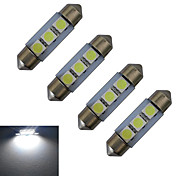 JIAWEN® 4pcs Festoon 36mm 1W 3x5050SMD 60LM 6000-6500K Cool White Reading Light LED Car Light (DC 12V)