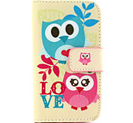 Owl  Pattern PU Leather Case with Magnetic Snap and Card Slot for Samsung S3 Mini I8190N