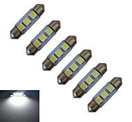 JIAWEN® 6pcs Festoon 36mm 1W 3x5050SMD 60LM 6000-6500K Cool White Reading Light LED Car Light (DC 12V)