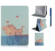 9.7 Inch Cat Pattern with Stand Case and Pen for iPad Air 2/iPad 6