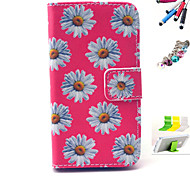 White Flowers Pattern PU Material Holster And Stylus Pen Dust Plug Bracket Assembly for iPhone 4/4S