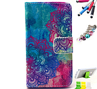 Flower Pattern PU Material Holster And Stylus Pen Dust Plug Bracket Assembly for iPhone 4/4S