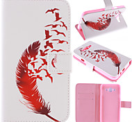 Red Feather Design PU Leather Stand Case with Card Slot for Samsung Galaxy E7