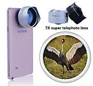 Evileye vista longe 7x lente teleobjetiva para Samsung Galaxy S4 / 5, observe 3/4 adicionado ao cristal placa de montagem (cores sortidas)